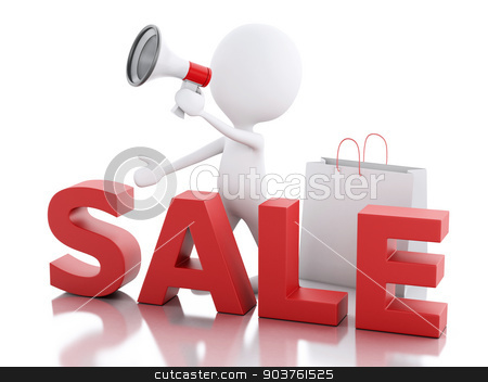 3d white people sale announcement with megaphone and shopping ba stock photo, 3d illustration. White people sale announcement with megaphone and shopping bag by nicolas menijes
