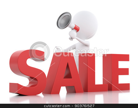 3d white people sale announcement with megaphone. stock photo, 3d illustration. White people sale announcement with megaphone. sale concept on white background by nicolas menijes
