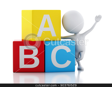 3d white people with ABC cubes on white background. stock photo, 3d illustration. White people with ABC blocks. Isolated on white background. by nicolas menijes