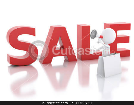 3d white people sale announcement with megaphone. stock photo, 3d illustration. White people sale announcement with megaphone. sale concept on white background by nicolas menijes