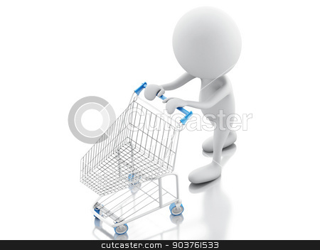 3d white people with shopping cart isolated on white background stock photo, 3d illustration. White people with shopping cart isolated on white background by nicolas menijes