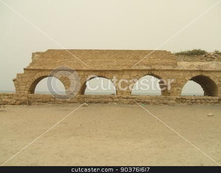 Beach arches, Casesarea, Israel stock photo, Roman ruins by Saphire Ovadia