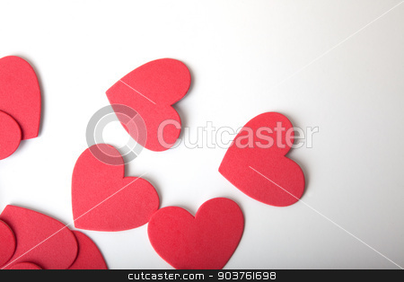 Foam Hearts stock photo, Foam hearts isolated on a white bakcground. by Scott Sanders