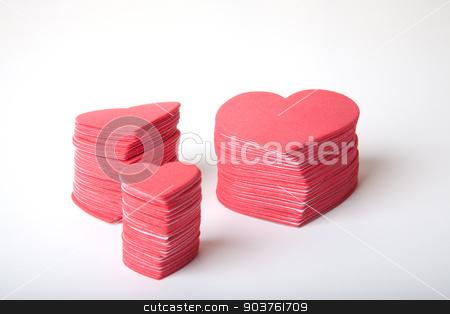 Foam Hearts stock photo, Foam hearts isolated on a white bakcground. by Scott Sanders