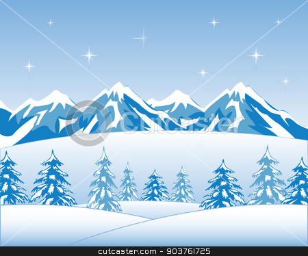 Winter wood and mountains stock vector clipart, Vector illustration winter wood and mountain tops by cobol1964