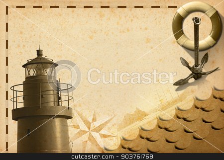 Adventurous Journeys Background stock photo, Old yellowed paper with spots, compass rose, lifebuoy, sailing ship, old rusty anchor and lighthouse. Concept of adventurous travels by catalby