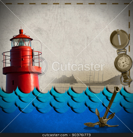 Adventurous Journeys Background stock photo, Red lighthouse, compass, sailing ship, blue waves and old rusty anchor on paper. Concept of adventurous travels by catalby