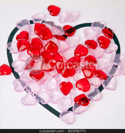 Valentine's Heart stock photo, A heart with smaller hearts inside it on a white background. by Scott Sanders