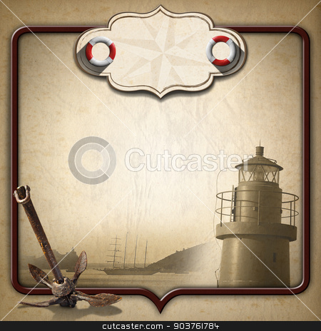 Adventurous Journeys Vintage Background stock photo, Old brown paper with empty label with compass rose and two lifebuoys, sailing ship, old anchor and lighthouse. Concept of adventurous travels by catalby
