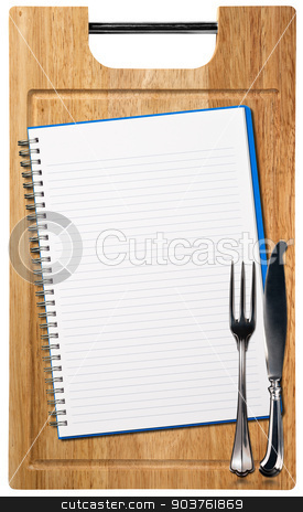Empty Notebook on Wooden Cutting Board stock photo, Open notebook for recipes or menu on an wooden cutting board with silver cutlery isolated on white background by catalby