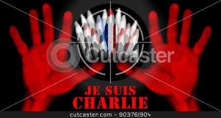 I Am Charlie - Je Suis Charlie stock photo, Viewfinder of rifle on pencil with the colors of the French flag and text i am charlie in french and two bloody red hands by catalby
