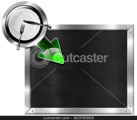 Metal Billboard for a Restaurant stock photo, Metallic billboard with metal frame, empty white plate with silver cutlery and green arrow, isolated on white background. Template for recipes or a food menu by catalby