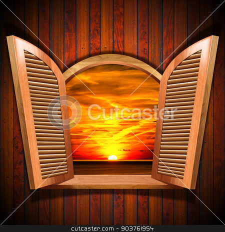 Open Window with View of the Sunset stock photo, Brown wooden window with open shutters and view of a beautiful sunset over the sea with cloudy sky, on wooden wall. by catalby