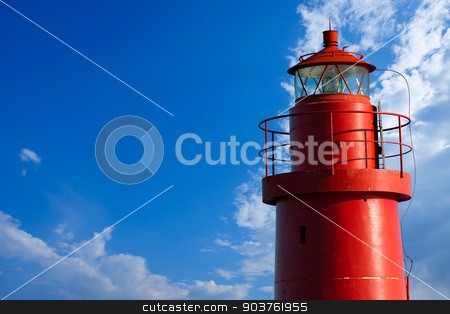 Red Lighthouse - La Spezia Italy stock photo, The top of red lighthouse in the La Spezia harbor, Liguria, Italy. On blue sky with clouds by catalby
