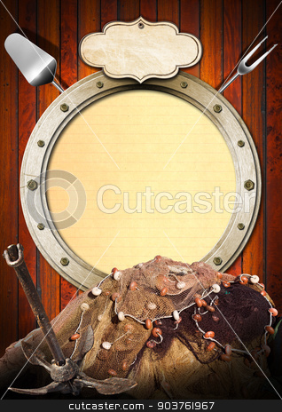 Seafood - Menu Template stock photo, Metal porthole with yellow lined paper on wooden background, kitchen utensils, rusty anchor and fishing net. Template for recipes or seafood menu by catalby