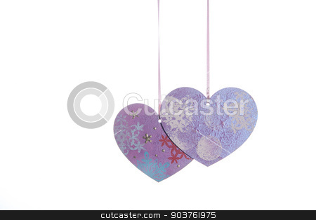 Valentines Day background with hearts stock photo, Valentines Day background with hearts isolated on white by Oleksandr Solonenko
