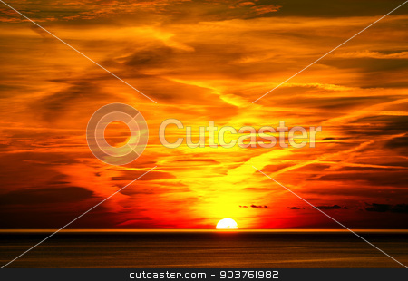 Sunset in Liguria Italy stock photo, Beautiful sunset over the sea with cloudy sky. Cinque terre, Liguria, Italy, UNESCO world heritage site by catalby