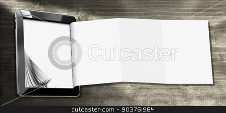 Tablet Computer with Folded Paper  stock photo, Black tablet computer with blank and folded pages on wooden background. Template for a modern and creative flyer by catalby