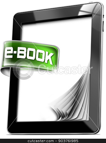 Tablet Computers - E-Book stock photo, Black tablet computer with green label with text e-book, curled and blank pages. Isolated on white background by catalby