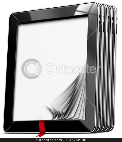 Tablet Computers with Blank Pages stock photo, Set of black tablet computers with blank pages and red bookmark isolated on white background by catalby