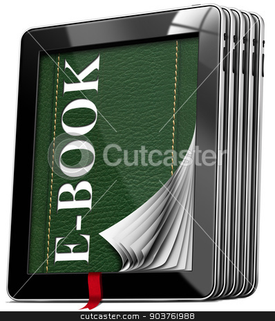 Tablet Computers - E-Book stock photo, Set of black tablet computers with green cover in leather and text e-book, curled pages, red bookmark. Isolated on white background by catalby