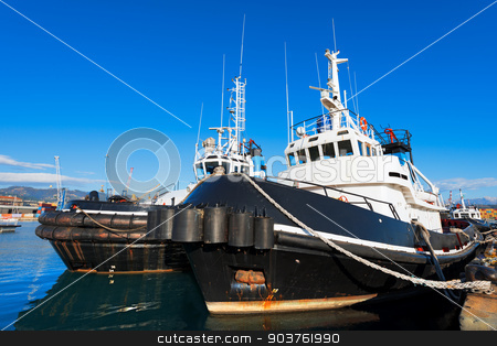 Two Tugboats in the Harbor stock photo, Two tugboats docked in the harbor of La Spezia, Liguria, Italy by catalby