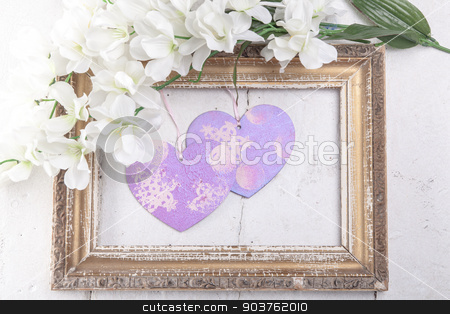 Valentines Day background with hearts stock photo, Valentines Day background with hearts in retro frame by Oleksandr Solonenko