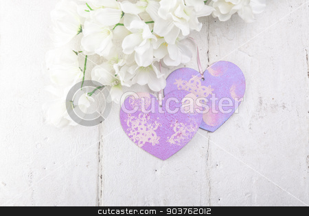 Valentines Day background with hearts stock photo, Valentines Day background with hearts on bleached white board by Oleksandr Solonenko