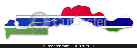 Map and flag of The Gambia stock photo, Illustration of a map with a flag of The Gambia by MIPImages