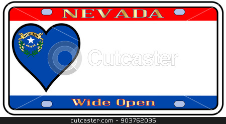Nevada License Plate stock vector clipart, Nevada state license plate in the colors of the state flag with the flag icons over a white background by Kotto