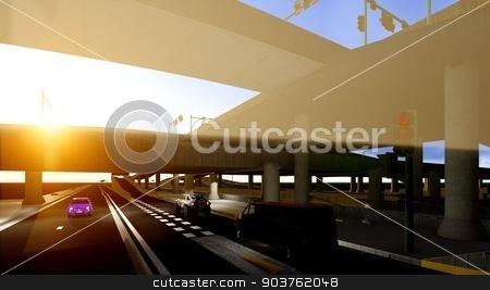 Under the highway. Urban scene  stock photo, high-level overpass that crosses over a highway by Dariusz Miszkiel