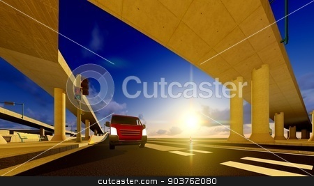Under the highway. Urban scene  stock photo, high-level overpass that crosses over a highway by Dariusz Miszkiel