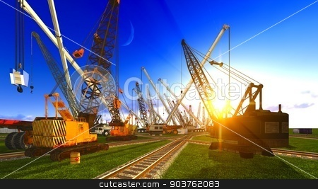 Construction site stock photo, Construction site with various machines by Dariusz Miszkiel