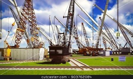 Construction site stock photo, Construction site with various machines by Dariusz Miszkiel