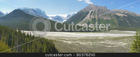 Columbia Icefield panoramic landscape in Alberta. Canada stock photo, Columbia Icefield panoramic landscape in Alberta. Canada. Horizontal by ABBPhoto
