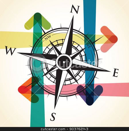compass and arrow background stock vector clipart, compass and arrow background by jameschipper
