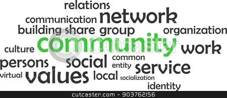 word cloud - community stock vector clipart, A word cloud of community related items by Amir Zukanovic