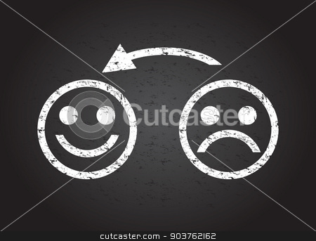sad face to a happy face stock vector clipart, sad face to a happy face by jameschipper