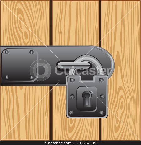 Outboard lock on door stock vector clipart, Vector illustration of the outboard lock on door from tree by cobol1964