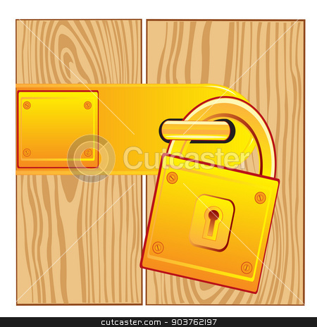 Door and lock gold stock vector clipart, Vector illustration of the lock from gild on door by cobol1964