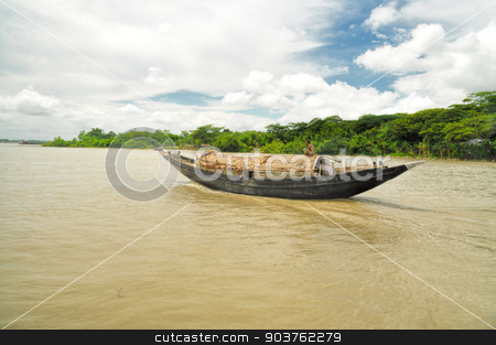 Boat in Bangladesh stock photo, Traditional old river boat in Bangladesh by Michal Knitl