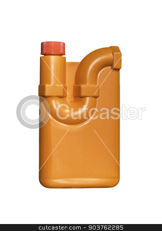 Orange plastic bottle drain cleaner stock photo, Orange plastic bottle drain cleaner isolated on white with clipping path by manusy