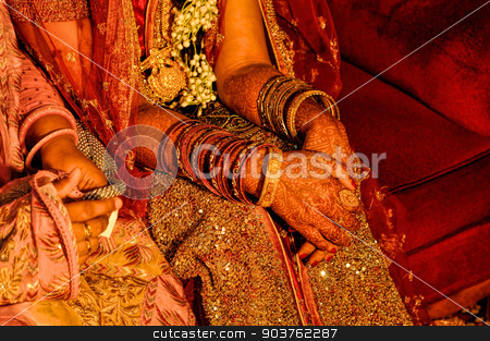Henna on brides hands stock photo, Traditional henna on brides hands on wedding in Bangladesh by Michal Knitl