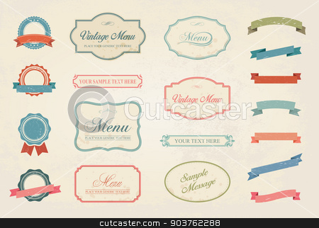 Vintage Labels Vector Design Elements Collection Set stock vector clipart, This image is a vector file representing a Premium Vintage Labels Vector Design Elements Collection Set. by Bagiuiani Kostas