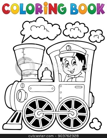 Coloring book train theme 1 stock vector clipart, Coloring book train theme 1 - eps10 vector illustration. by Klara Viskova