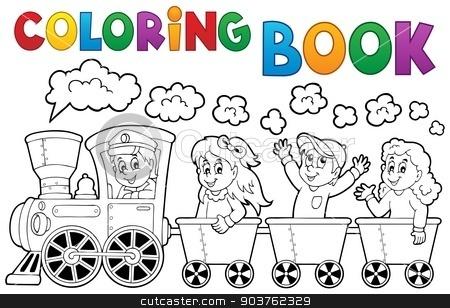 Coloring book train theme 2 stock vector clipart, Coloring book train theme 2 - eps10 vector illustration. by Klara Viskova