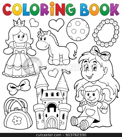 Coloring book with toys thematics 1 stock vector clipart, Coloring book with toys thematics 1 - eps10 vector illustration. by Klara Viskova