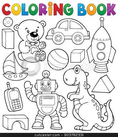 Coloring book with toys thematics 2 stock vector clipart, Coloring book with toys thematics 2 - eps10 vector illustration. by Klara Viskova