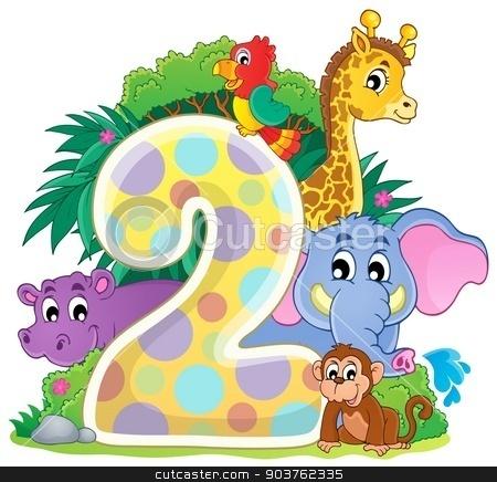 Happy animals around number two stock vector clipart, Happy animals around number two - eps10 vector illustration. by Klara Viskova