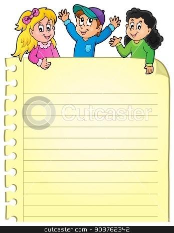 Part of blank page with happy kids stock vector clipart, Part of blank page with happy kids - eps10 vector illustration. by Klara Viskova